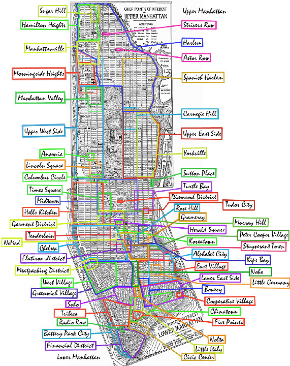 The Manhattan Grid Page 3 – Map of Manhattan Neighborhoods with Streets