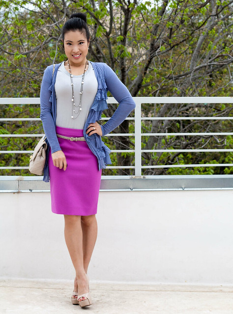 urban outfitters ruffle cardigan j. crew double serge pencil skirt in bright dahlia aldo withey nude pumps ann taylor skinny belt yesstyle chanel quilted purse