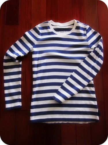 Liz Clairborne Navy-white Striped shirt