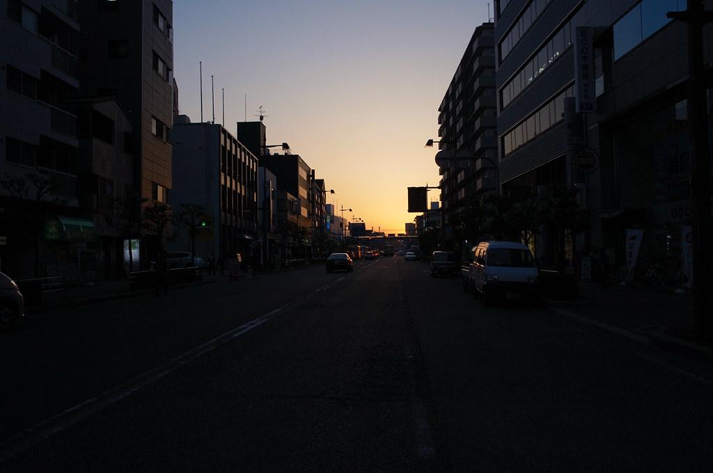 the street at dusk