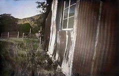 Faraway Ranch #6 (revisited with color) Chiracahua National Monument, Arizona, USA (Crunchy Footsteps) Tags: ranch summer arizona color history monument metal barn rural vintage photography historic pinhole homemade national colorized lensless faraway chiracahua