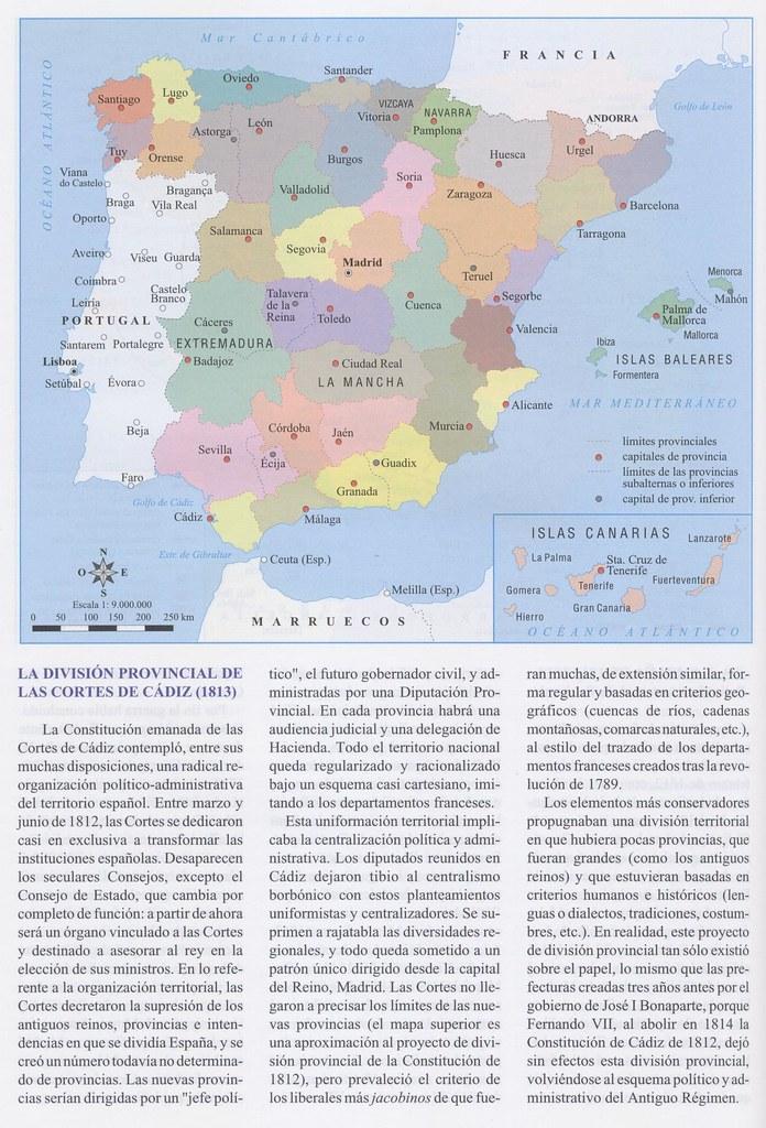 División provincial de las Cortes de Cádiz