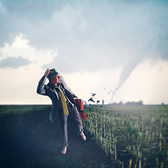 The Horizon (Shawn Van Daele) Tags: portrait selfportrait man field birds photomanipulation photoshop cornfield 365 suitcase tornado 365days