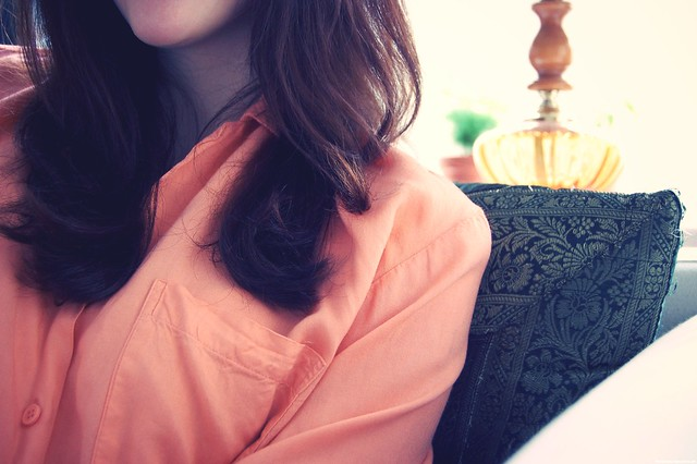 hair & blouse.