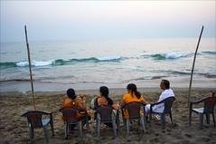 Enjoying the Sea (Saptak Ganguly) Tags: travel sea india beach evening nikon waves together gujarat vast d90 indianfamily saptak