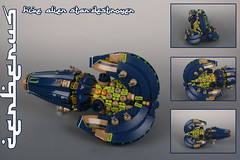 """CERBERUS"" Alien hive star-destroyer (Shamisenfred) Tags: lego alien spaceship hive stardestroyer cerberus microspacetopia"