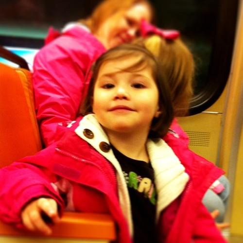 Izzy on the metro