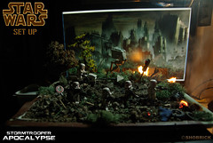 Empire AT War Set Up (Shobrick) Tags: green up set forest fire star fight war lego soil walker crater empire stormtrooper laser wars custom endor at shobrick