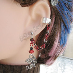 Black, Red and Silver Cartilage Chain Ear Cuff - Fireball of the Dragon