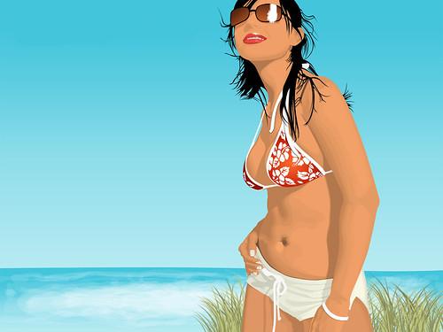 [フリー画像] グラフィックス, イラスト, 人物(イラスト), 女性, 水着, ビキニ, サングラス, 201104160300