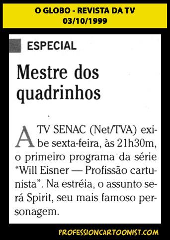 """""""Mestre dos quadrinhos"""" - O Globo - 03/10/1999"""