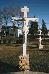 Jesus in Wheatland, WI (Erik_Ljung) Tags: film statue wisconsin analog rural america 35mm worship cross country jesus suburbia southern milwaukee idol americana lonely salem portra sacrifice kenosha