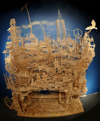 Rolling through the bay (The Tinkering Studio) Tags: sculpture artist toothpicks exploratorium toothpicksculpture scottweaver learningstudio rollingthroughthebay tinkeringstudio toothpickguy materialitywood openmakewood