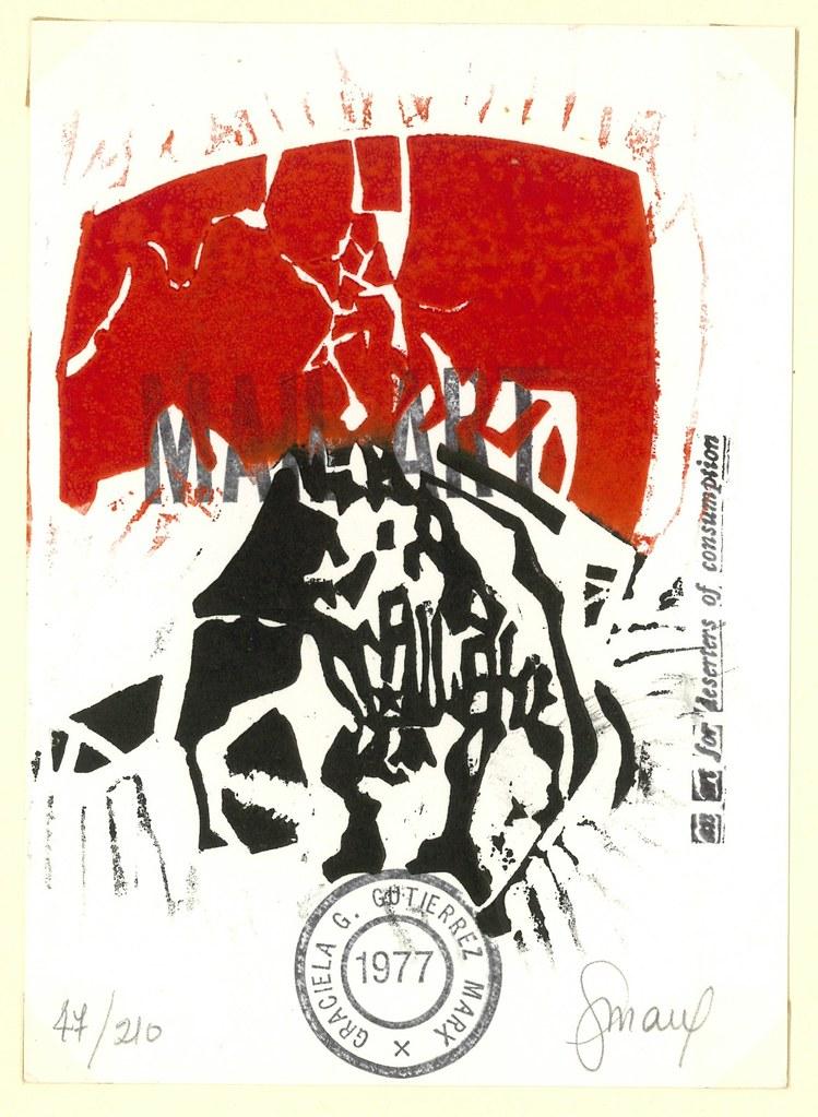 Work by G.G. Marx from FERRO, Antonio.  Naples (Experimenta) 1977.  POST CARDS: Wrpps., unpaginated.  10 original postcards, each one numbered and signed.  Edition of 200 copies.   (H. Tress, E.A. Vigo, R. Rehfelt, A. Ferro, R. Peli, L. Yurcovic, G.G. Marx, H. Zabala, U Attardi).