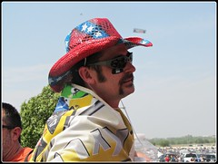 Southern Man w/ Confederate Flag Cowboy Hat (libraryrivergirl) Tags: hat mms texas nascar cowboyhat fortworth confederateflag texasmotorspeedway kylebusch car18 samsungmobile500