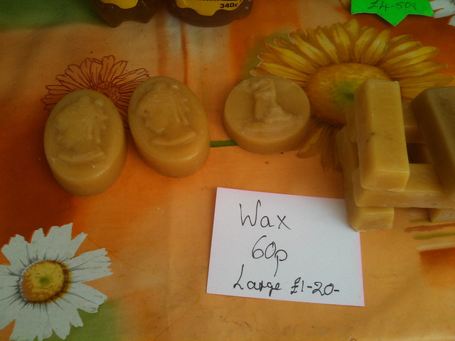 Honey and beeswax on sale at the first Radlett farmers' market in April 2011