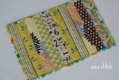 mini quilt - green/yellow (coco stitch) Tags: green kitchen yellow small coaster miniquilt mugrug