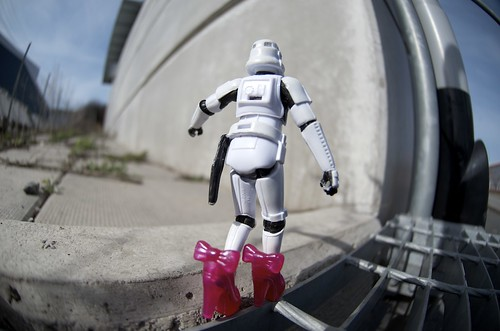 The Stormtrooper is out walking on a thin line