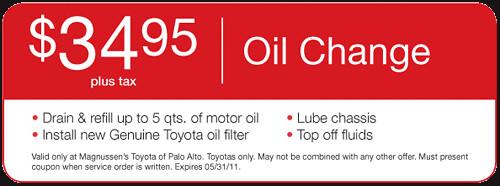 $34.95 Oil Change Special | Palo Alto Toyota & San Jose, San Francisco Dealer