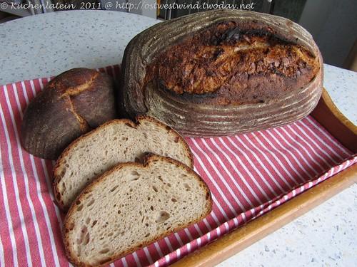 Pain au Levain Trilogie: Weizenmischbrot mit gemischten Sauerteigen