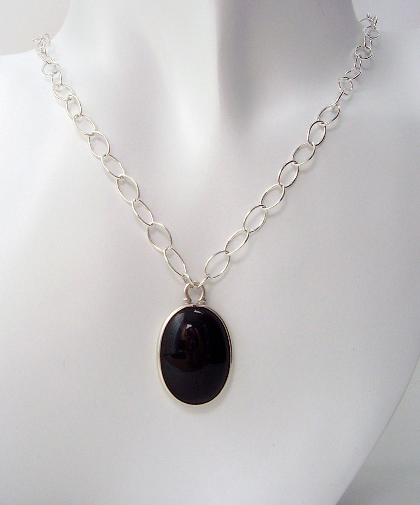 Black Onyx Sterling Silver Necklace Handcrafted 2