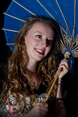 Molly with Roman parasol (Paul J White) Tags: blue portrait rome girl beautiful newcastle molly parasol