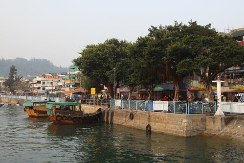 Sampans moored to the seawall at Cheung Chau