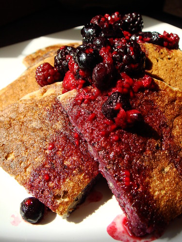Buckwheat Whole Wheat Pancakes with Berries Maple Syrup