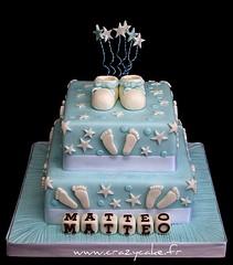 Christening cake (Crazy Cake - Cakedesigner57) Tags: feet cake stars sugar booties baptme christeningcake