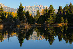 Autumn Reflections (bhophotos) Tags: trip travel blue autumn trees vacation usa mountains green nature water reflections river landscape geotagged golden nikon valley snakeriver wyoming aspen tetons jacksonhole grandtetonnationalpark gtnp schwabacherslanding d700 2470mmf28g