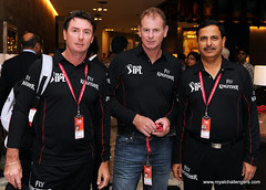 Umpires Rod Tucker, Paul Reiffel and Sudhir Asnani