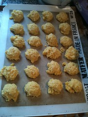 Cornbread biscuits straight from the oven