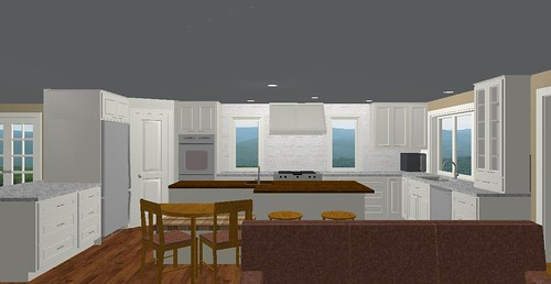 Kitchen all white cabs with wood island top