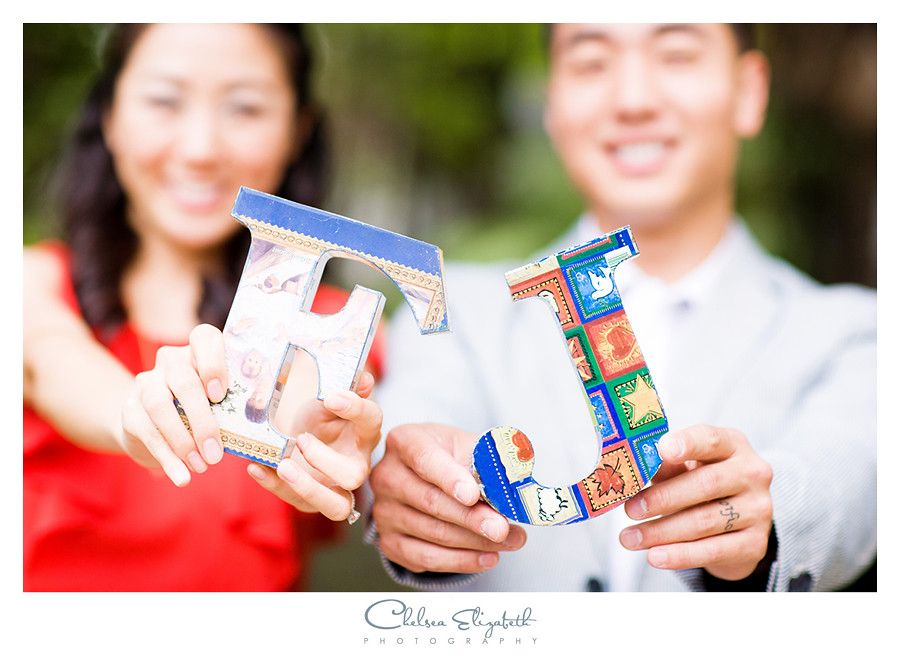 engagement photo props with couples initials