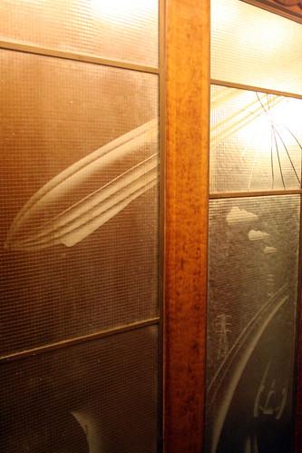 Queen Mary - Transportation Mural (Aft Elevators) - Cracked Glass (Between Promenade and Main Decks)