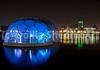 Floating Pavilion Rotterdam in Blue (DolliaSH) Tags: city longexposure blue light urban haven holland color water colors architecture night canon reflections river photography lights noche photo rotterdam topf50 europe foto nightshot photos nacht harbour nederland thenetherlands balls structure illuminated le maas showcase nuit kopvanzuid notte futuristic stad noch zuidholland wilhelminaplein 1755 southholland 50d rijnhaven nachtopname canonefs1755mmf28isusm canoneos50d stadshavens dollias rotterdamclimateinitiative dolliash drijvendpaviljoen nationalwatercentre floatingpavilionrotterdam dutchwatersector dutchdeltadesign netherlandswaterpartnership klimaatprogramma dolliasheombar