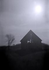 Barn (yarnzombie) Tags: blackandwhite bw white black film lensbaby barn rural 35mm star aperture nikon kodak farm trix 400 diafine pan expired composer fm2n