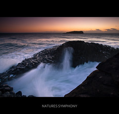 Natures Symphony (itsgottabered) Tags: ocean sea sky cloud colour beach water sunrise canon fun island photography dawn rocks surf waves australia spray newsouthwales 1740mm giantscauseway firstlight fingal fingalheads hitechfilters 5dmkii