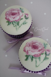 Hand painted cupcakes by Cotton and Crumbs