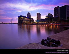 Salford Quays (Charlotte Brett Photography) Tags: city sunset buildings manchester salfordquays quay salford northwestengland mediacity