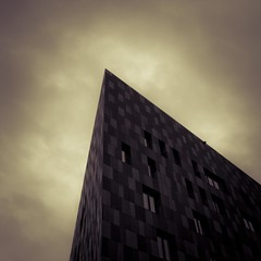 Cuts like a Knife (Gilderic Photography) Tags: sky urban cloud white abstract black building window stone sepia architecture modern canon square eos mono triangle europe raw pyramid geometry pierre knife ciel luxembourg shape nuage batiment kirchberg lightroom geometrie carre 500d 500x500 gilderic