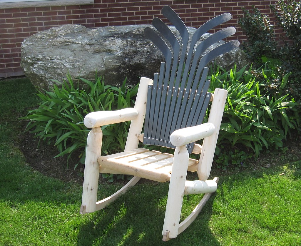 Hockey Stick Log Rocker with Wooden Seat