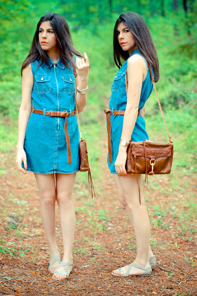 Gap denim dress, Asos leather boyfriend belt, Rebecca Minkoff bag, Diba sandals, Fashion Outfit