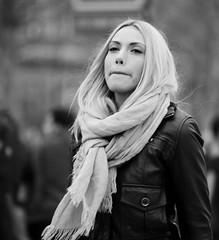 People on The Avenue des Champs-lyses  - (Day 14 Holiday 2011) (Matthew Kenwrick) Tags: travel blackandwhite bw woman holiday paris france hot cold sexy girl fashion lady female scarf canon french march spring pretty babe blonde styel