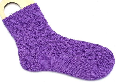 Damask Cable Sock sample in BFL