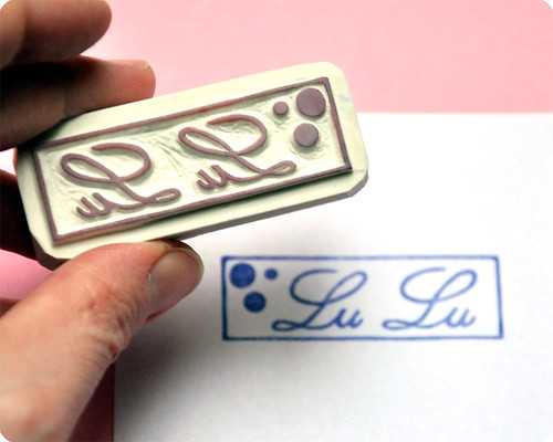 Lulu stationery hand carved rubber stamp logo