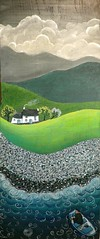Daliad y dydd (Valriane Leblond) Tags: wood sea house art wales painting folk cottage peinture nostalgia oldfashion naive maison bois nostalgie populaire celf gallois naif llun pren leblond paysdegalles artpopulaire naive cyngorcelfyddydaucymru naif vieillemode valerianeleblond valeriane