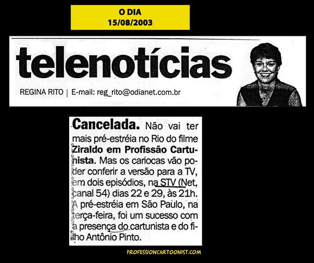 """""""Cancelada"""" - O Dia - 15/08/2003"""