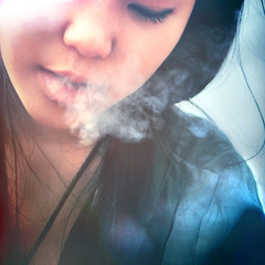 smoke gone by ~ (Bomm Green) Tags: park light portrait sun girl smoking flares