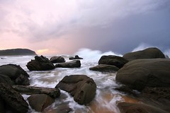 Water, water, everywhere.... (pominoz) Tags: sea clouds dawn rocks waves nsw centralcoast forrestersbeach